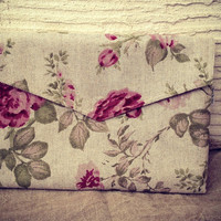 "13 inch laptop case with pocket, floral pattern, roses, eco friendly - ""envelope rose garden"""
