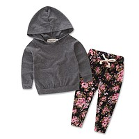 Tops Hoodies Long Floral Pants Casual Newborn Baby Girls Clothes Set Grey Hooded 2Pcs Outfits Set Clothing Baby Girl
