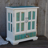 Jewelry Box, Jewelry Armoire, Shabby Chic, Rustic, Beach, Decoupage, Turquoise, Aqua, White, Hand Painted, Upcycled