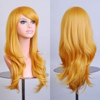 """Outop 28 """"Women's Hair Wig New Fashion Long Big Wavy Hair Heat Resistant Wig for Cosplay Party Costume(purple)"""