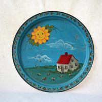 Vintage Hand Painted Serving Tray, Child's 1986 Painted Tray, Folk Art Decor