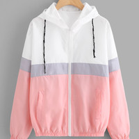 Color Block Elastic Waist Drawstring Jacket -SheIn(Sheinside)