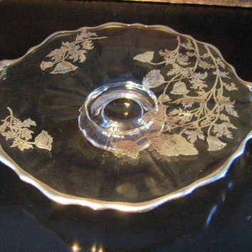 Elegant Glass Silver Overlay Floral Round Serving Tray