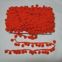 Orange Pom Pom Fringe Trim, 1/2 Inch Ball or 10 mm Ball, BY the YARD, Sewing Projects, Crafts, Pillows, Curtains, Costumes, Home Sewing Trim