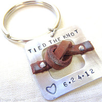 Anniversary or Wedding Key chain... Tied the knot with custom date