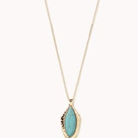 Hammered Metal Faux Stone Necklace