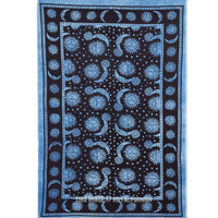 Twin Black and Blue Psychedelic Celestial Sun Moon Tapestry Wall Hanging Bedspread on RoyalFurnish.com