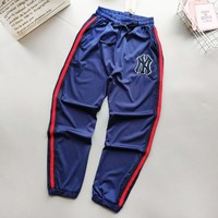 NY New fashion embroidery letter more diamond couple pants Blue