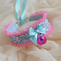 Cherry swirl - magenta pink and blue necklace with ornaments and bell - kawaii cute lolita kitten pet play furry collar