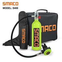 SMACO Scuba Tank Dive Cylinder Mini Scuba Tank Scuba Cylinder with 15-20 Minutes Capability Diving Oxygen Tank with Pump Breath Underwater Device(340 Breathe Times) S400 1L Dive Equipment Packages S400 Green-b