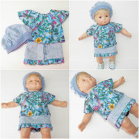 """FREE SHIPPING, bitty baby clothes, EASTER denim skirt  shirt hat, floral flower dragonfly, girl, or 15"""" twin doll, blue pink, handmade"""