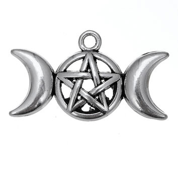 Tibetan Silver Plated Triple Moon And Star Goddess Charms Pendants Pentacle Jewelry 20pcs lot