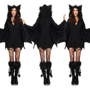 Women Halloween Costumes Black Evil Vampire Bat Costume Plays Costume Dress Catsuit Vampire Devil Batman Carnival Cosplay