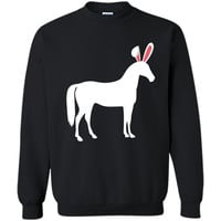 Horse Easter Bunny T-Shirt For Equestrian Kids & Adults Printed Crewneck Pullover Sweatshirt 8 oz