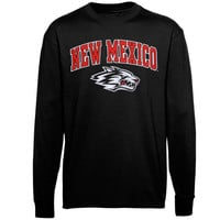 New Mexico Lobos Midsize Arch Over Mascot Long Sleeve T-Shirt - Black