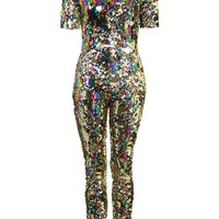 **Rainbow Sequin Festival Catsuit by Jaded