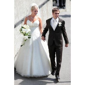 Claudia Schattenberg Wedding Dress The Celebrity Bride Dress, Beaded Bridal Ball Gown For Sale