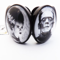 Horror Movie Frankenstein and Bride Glass Bezel Cameo Bracelet