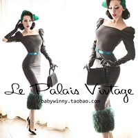 FREE SHIPPING Le palais vintage limited edition elegant emerald patchwork woolen tight dress/Women Clothing