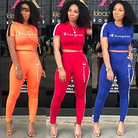 Champion Fashion Women Casual Print Hoodie Top Pants Trousers Set Two-Piece Sportswear