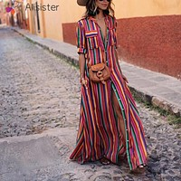 Boho Short Sleeve Striped Button Down Long Dress