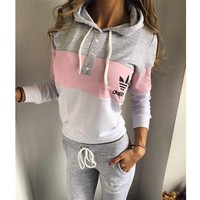 Tagre™ Adidas Fashion Multicolor Hoodie Sweater Pants Trousers Set Two-Piece