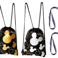 Disney Mickey Mouse Drawstring Backpacks and Blue Lanyards 4 Pack