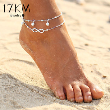 17KM  Vintage Antique Silver Color Anklet Women Turquoise Beads Bohemian Ankle Bracelet cheville Boho Foot Jewelry