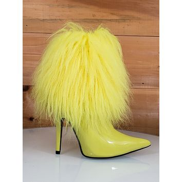 "CR Gazelle Yellow Patent Furry Ankle Boot Pointy Toe  4.5"" High Heel  6 - 11"