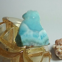 Larimar 32g Slab Free Form Lapidary Aquamarine and Turquoise Blue Marbled Pectolite Rough Raw Dominican beach Stone 160ct