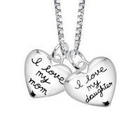 "Sterling Silver ""I Love My Mom, I Love My Daughter"" Two Heart Pendant Necklace s, 18"": Jewelry"