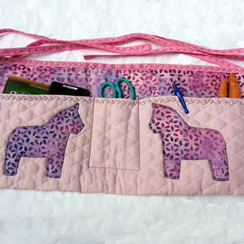 Pink Quilted Apron for Horse Trainers, Horse Groomers, Gardeners in pink and purple