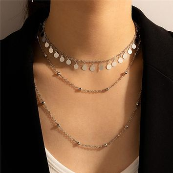 Silver Color Wafer Necklace for Women Multilayer Bead Tassel Alloy Metal Party Jewelry Accessories