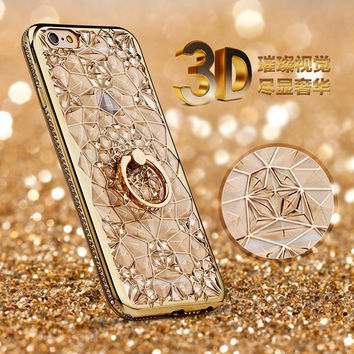 Luxury 3D Diamond Case for iPhone 7 Plating Crystal Glitter Rhinestone Bling Case for iPhone 7 Plus 6 6s 6Plus Cover Ring Holder