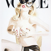 Vogue Magazine Cover. Claudia Schiffer. Fashion Illustration. Stretched Canvas by Feeling Artsy