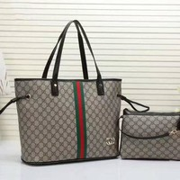 """Gucci"" women shopping shoulder bag female inclined shoulder bag brown two piece"