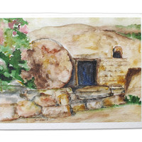 Empty Tomb Easter Card Christian Card Watercolor Painting - He Is Risen