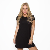 Small Town Jersey Tunic Dress In Black