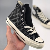 Converse Gucci printed canvas casual shoes with high tops for men and women