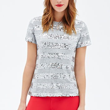 FOREVER 21 Sequined-Stripe Shirt Heather Grey/Silver