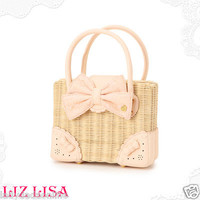 LIZ LISA Japan Vintage Rattan Basket Ribbon Bow Lace Leather Handbag Picnic Box
