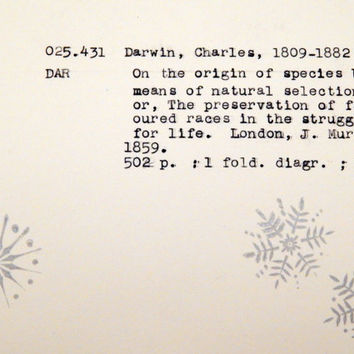Atheist Christmas card, library inspired Christmas card, non religious cards, atheist holiday card, Darwin holiday card, science card
