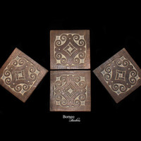 Wood Coaster Tile Coaster-Beverage Coaster Set Of Four Handcrafted Borneo Artisan Tree Of Life Design Colectible Placemat Kitchen Dining