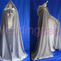 Silver White Hooded Cloaks Medieval Velvet Wedding Capes Cloaks Halloween Wicca Robe Size S M L XL XXL