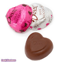 Dark Pink and Silver Foiled Dove Milk Chocolate Hearts: 35-Piece Bag | CandyWarehouse.com Online Candy Store