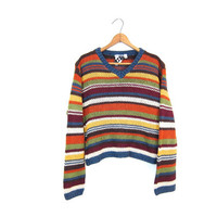 Cropped Knit Sweater Striped 90s Crop Top Colorful Yellow Red Green Orange Chunky Vneck Jumper Boho Hipster Vintage Womens Small Medium