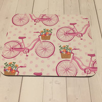 Bicycle pink Mouse Pad mousepad / Mat - Rectangle or round - coworker gift, teacher gift, desk  accessories cubical decor