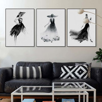 Modern Nordic Black White Fashion Model Large Canvas Art Print Poster Wall Picture Painting Beauty Girl Room Home Decor No Frame
