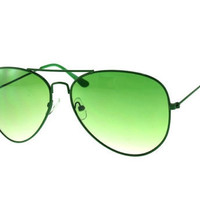 Vintage Aviator Sunglasses Green Frame with Green Lens St Patricks Day