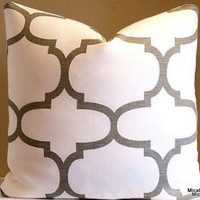 Brown Trellis Pillow Cover, Natural White Linen Pillow Cover,  16x16